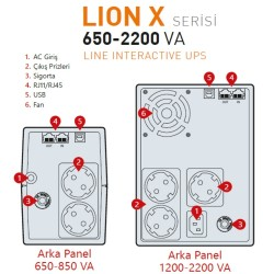 MAKELSAN LION 2200VA  LCD/USB (2x 9AH)  4-8dk